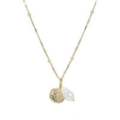 Ettika Freshwater Pearl & Coin Pendant Necklace