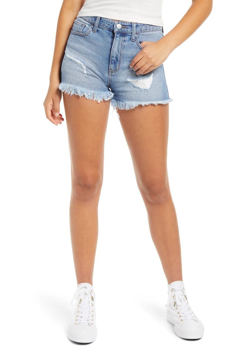 TINSEL Distressed High Waist Denim Shorts, Main, color, VINTAGE