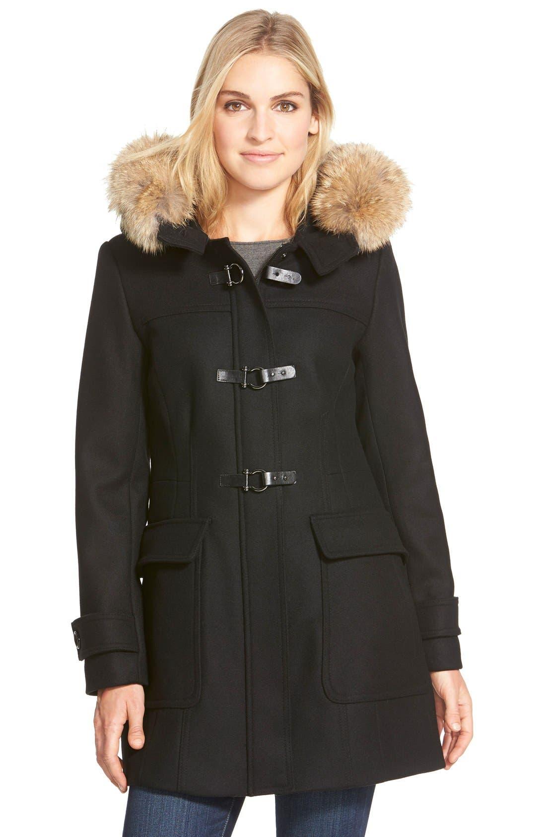 ,                             Genuine Coyote Fur Trim Wool Blend Duffle Coat,                             Main thumbnail 4, color,                             002