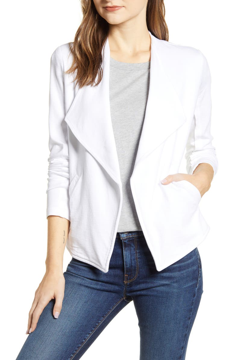 CASLON<SUP>®</SUP> Drape Collar Knit Blazer, Main, color, WHITE