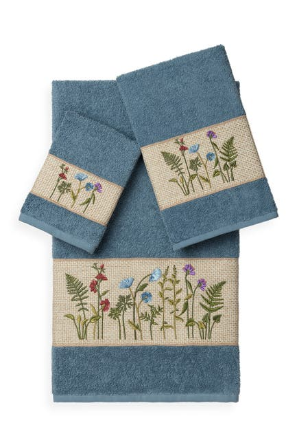 Image of LINUM TOWELS Serenity 3-Piece Embellished Towel Set - Teal