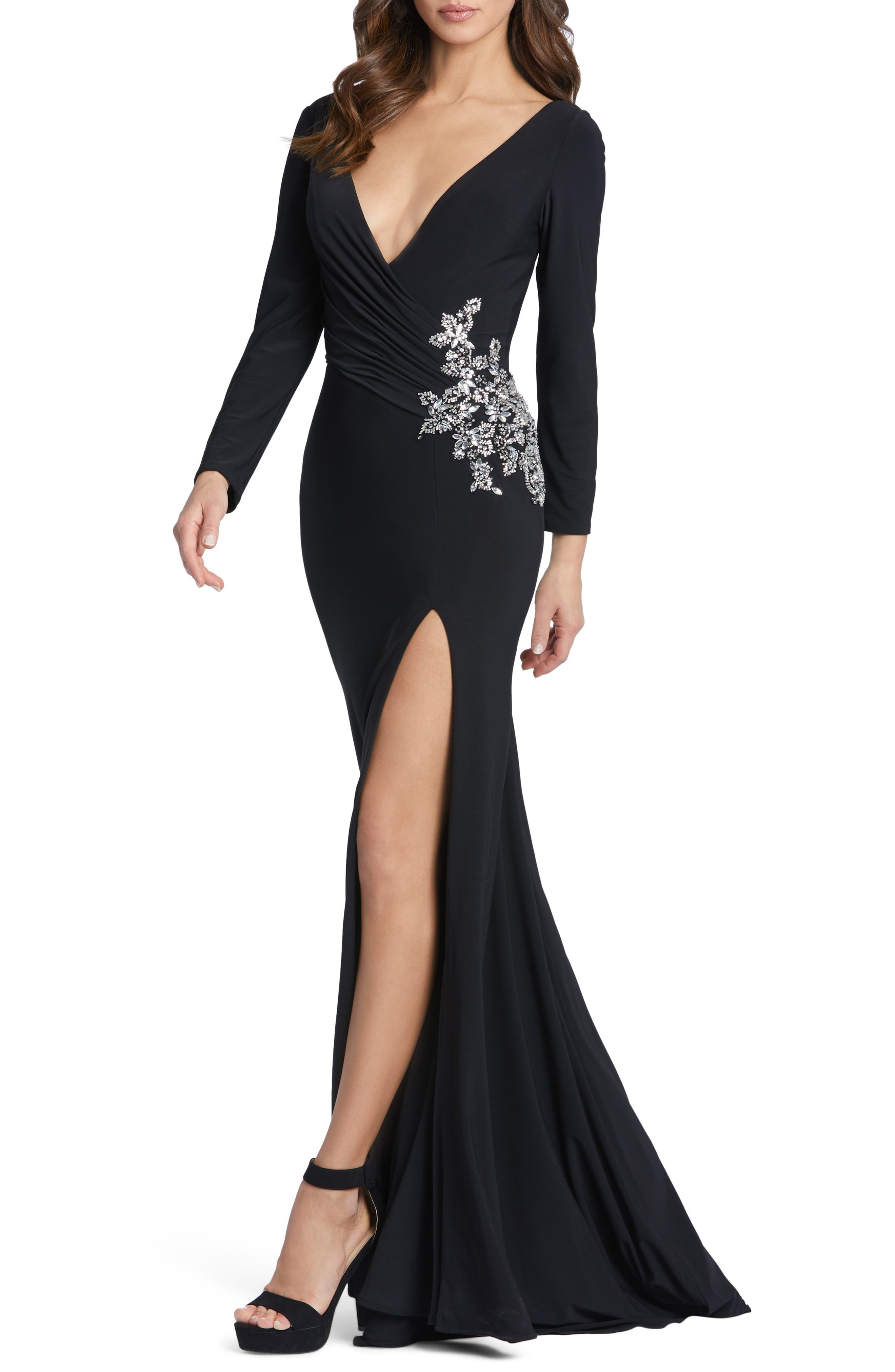 Embellished Long Sleeve Plunge Neck Jersey Gown
