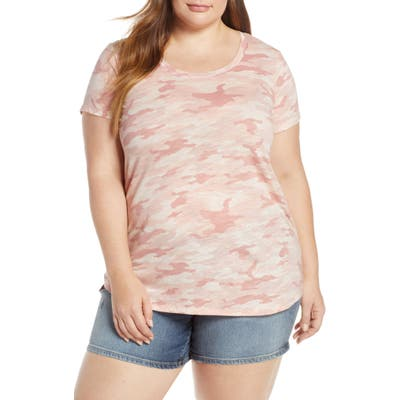 Plus Size Vince Camuto Scoop Neck Camo Tee, Pink