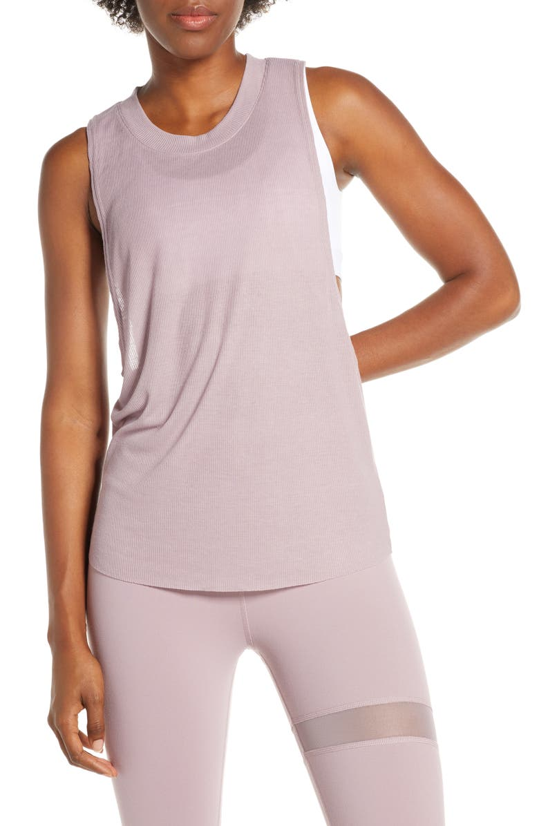 ALO Heat Wave Tank, Main, color, DUSTED PLUM