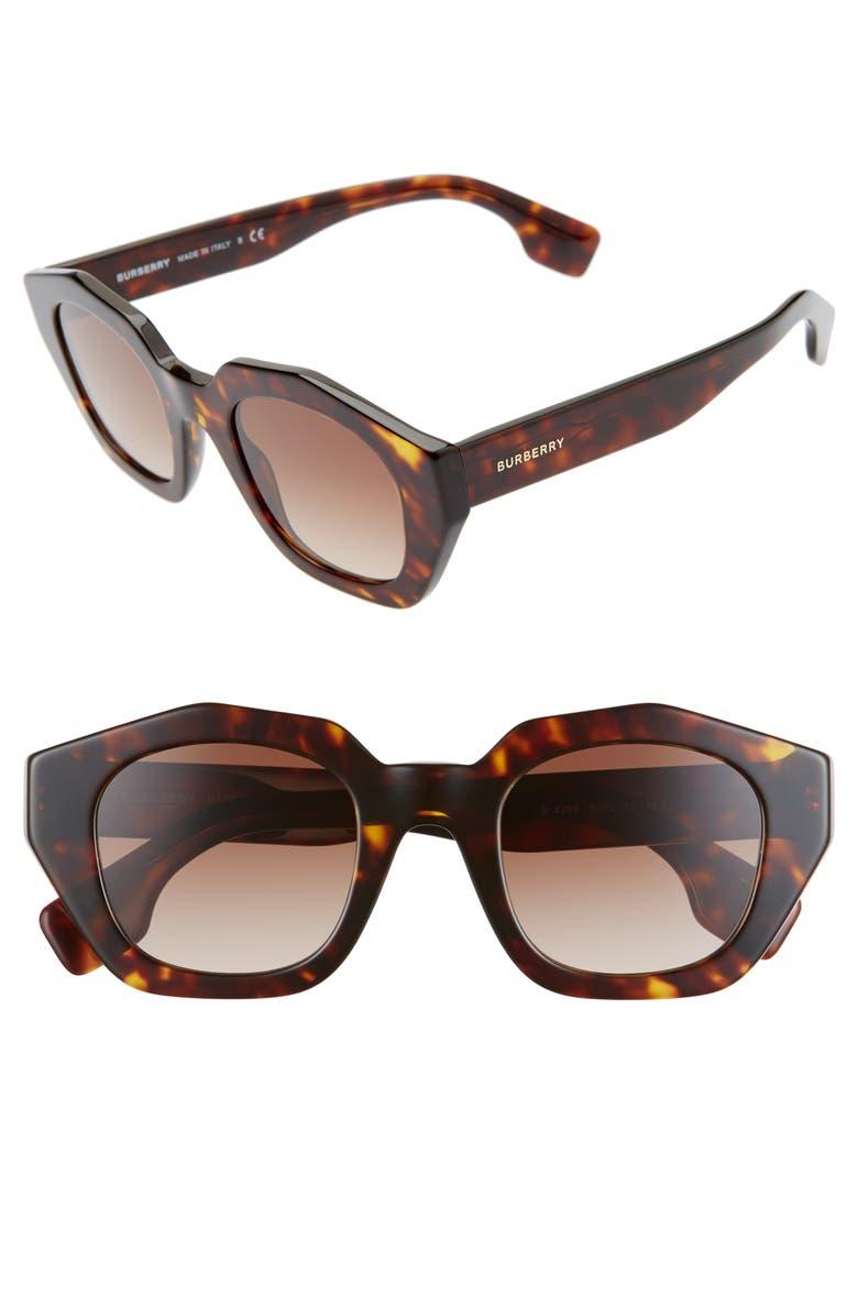 BURBERRY 46mm Geometric Sunglasses, Main, color, DARK HAVANA