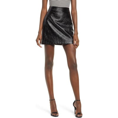 Leith Faux Patent Miniskirt, Black