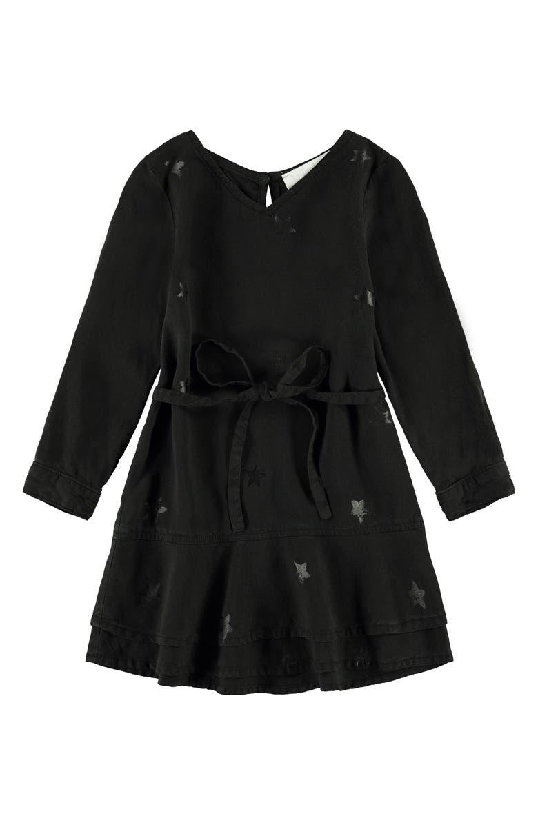 BELLA DAHL Star Print Double Ruffle Dress, Main, color, WASHED BLACK
