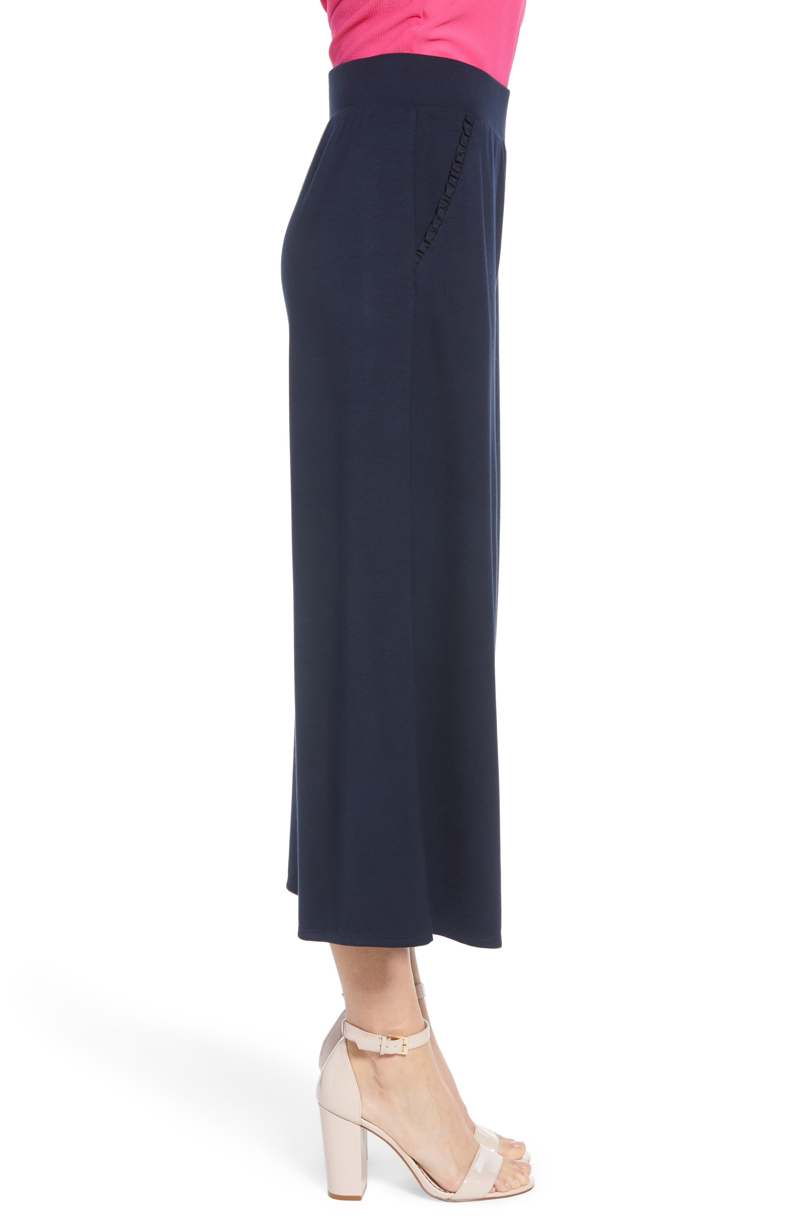 ,                             x Living in Yellow Wide Leg Crop Pants,                             Alternate thumbnail 4, color,                             NAVY