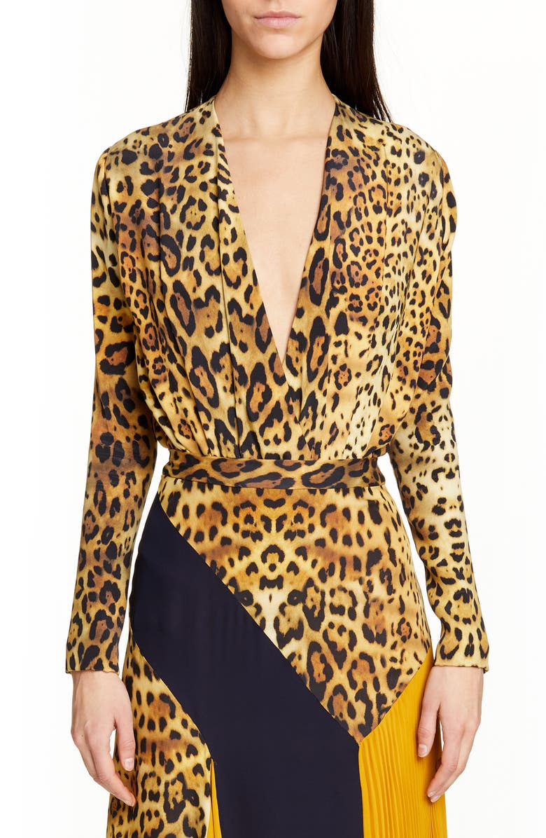 CUSHNIE Leopard Print Plunging Silk Bodysuit, Main, color, TAN LEOPARD