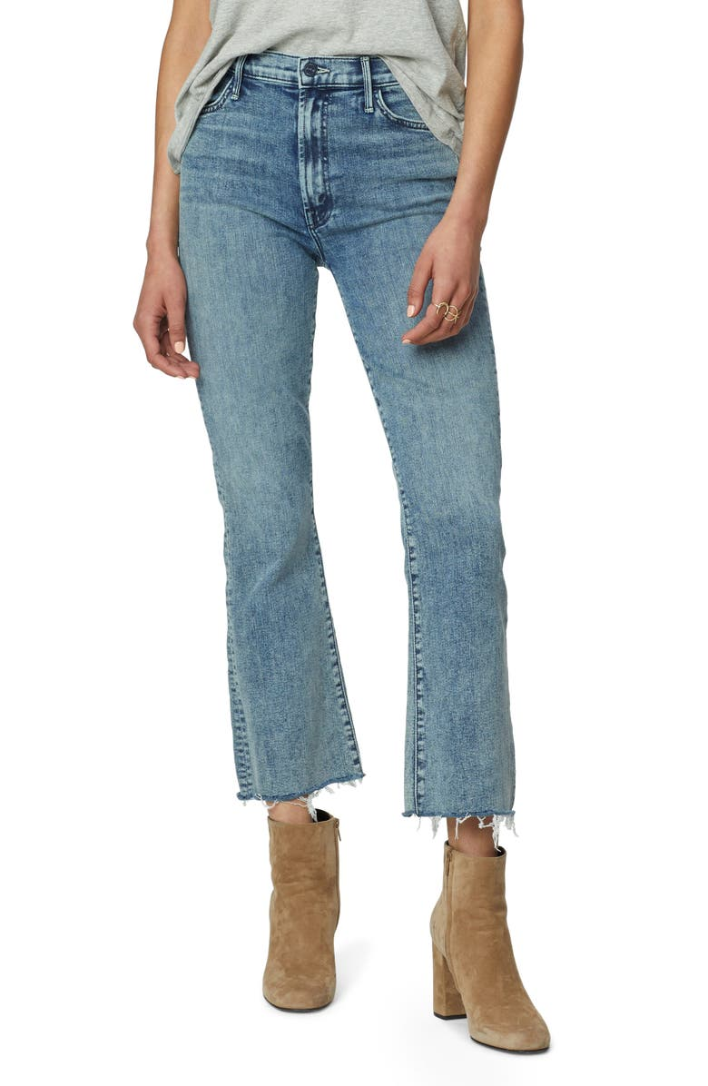 MOTHER Hustler Fray Ankle Bootcut Jeans, Main, color, SHAKING THINGS UP