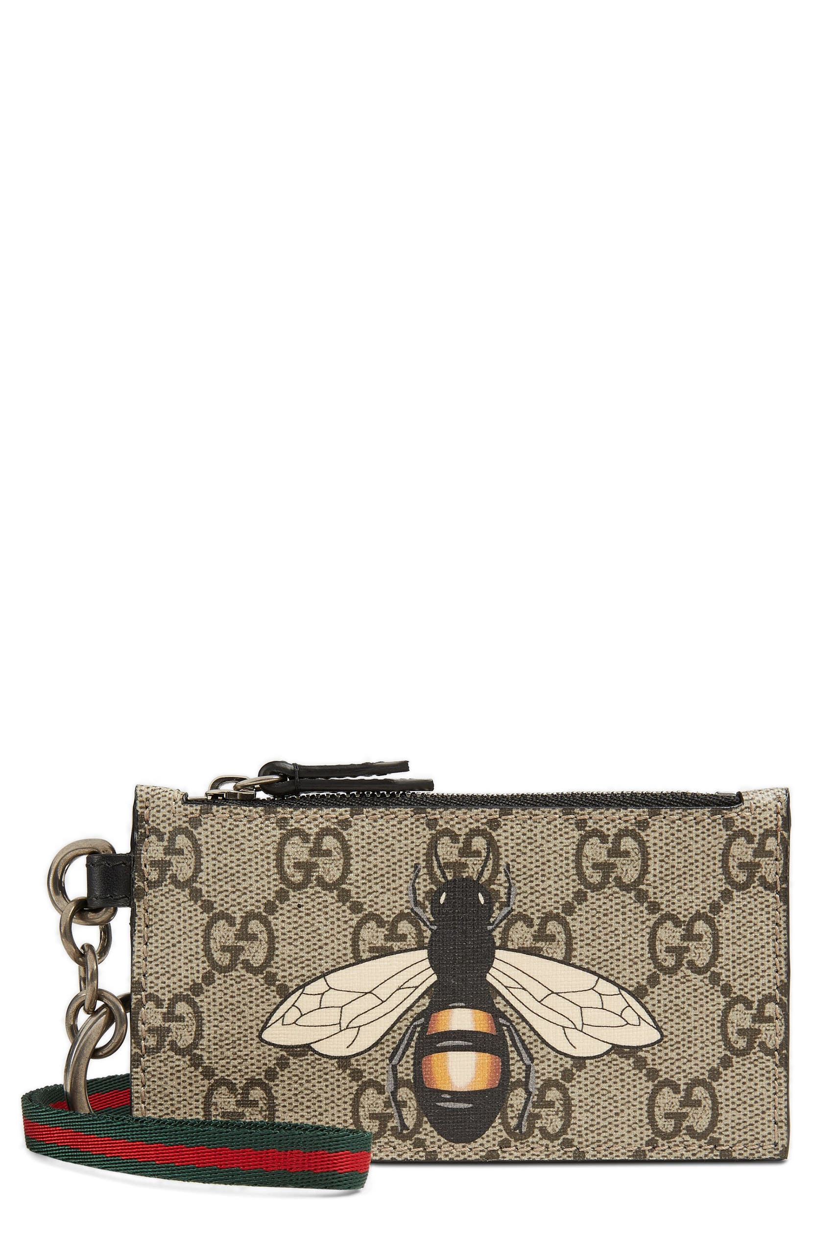 save off 1f738 cf309 Gucci GG Supreme Bee Print Lanyard Card Case | Nordstrom