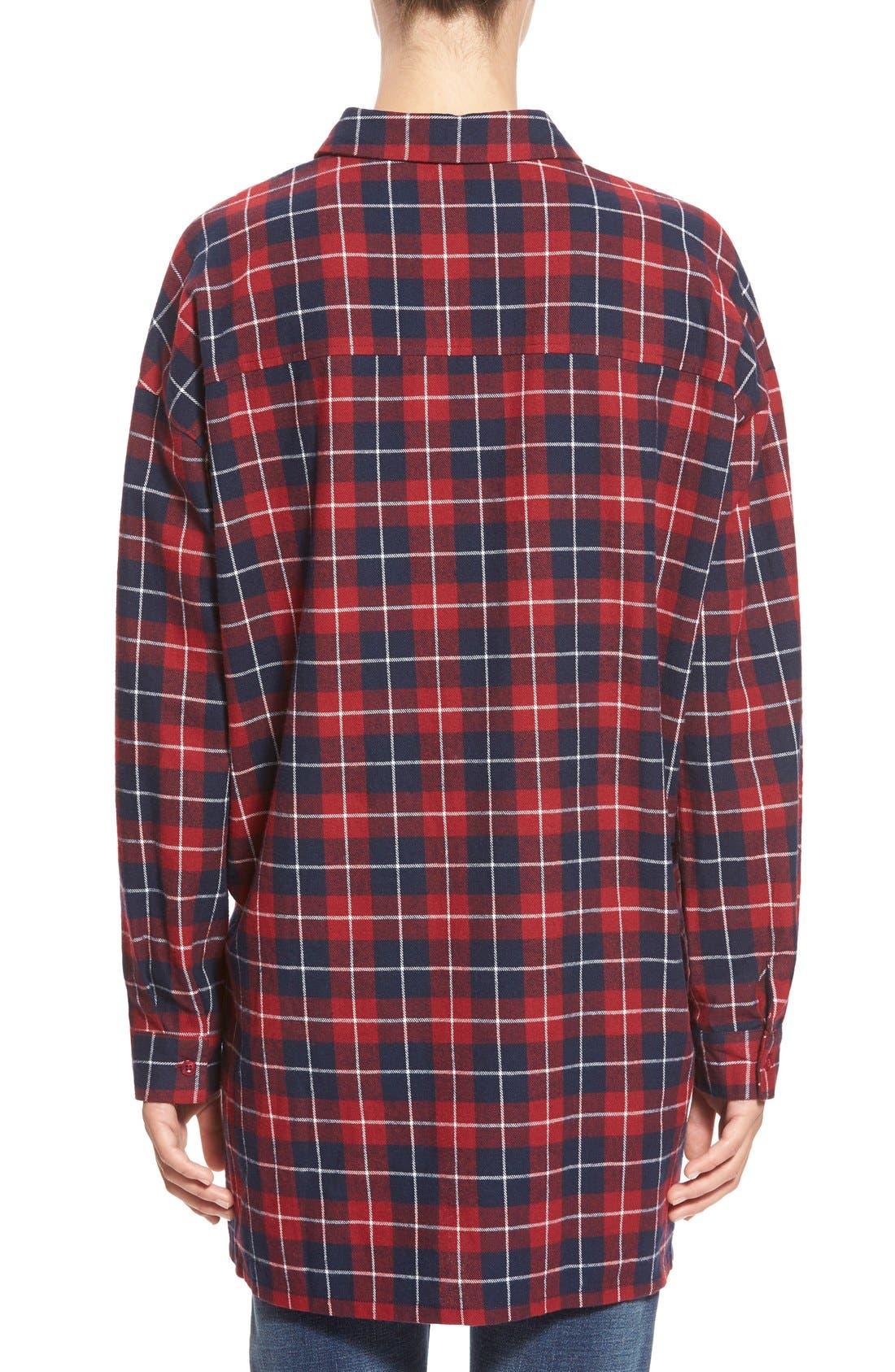 ,                             Oversize Plaid Button Front Shirt,                             Alternate thumbnail 5, color,                             600