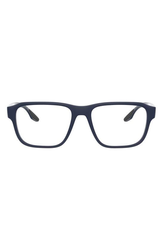 Prada 54mm Rectangular Optical Glasses In Blue