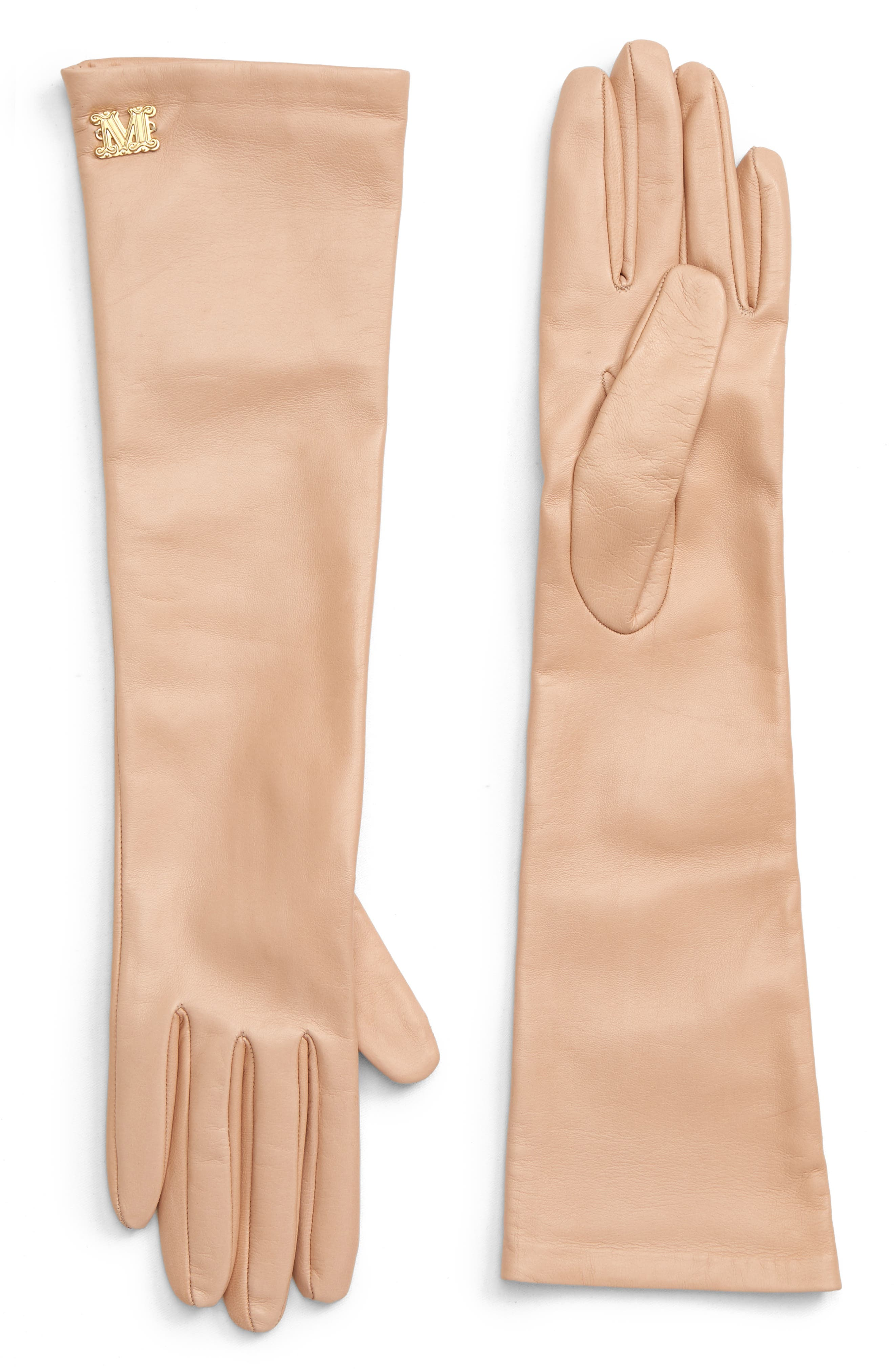 Max Mara Appia Long Leather Gloves, Beige