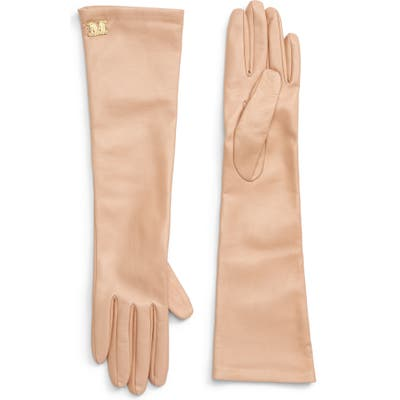 Max Mara Appia Long Leather Gloves - Beige