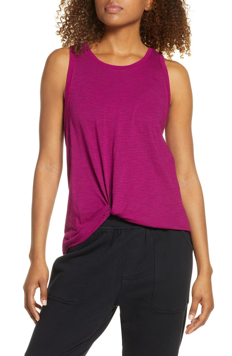 ZELLA Tuck Front Tank Top, Main, color, PURPLE FUCHSIA