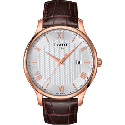 Tissot Tradition Leather Strap Watch, 42Mm