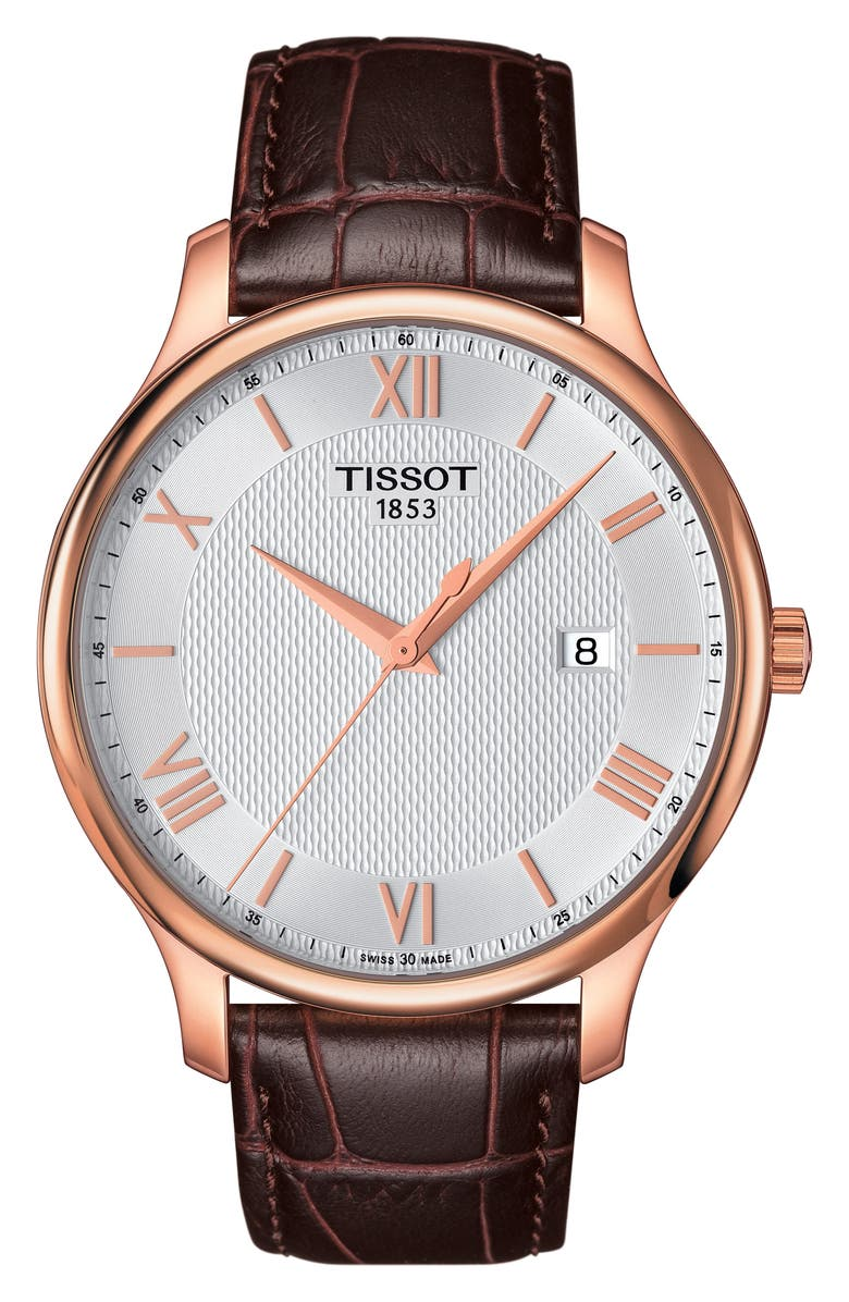 TISSOT Tradition Leather Strap Watch, 42mm, Main, color, BROWN/ SILVER/ ROSE GOLD