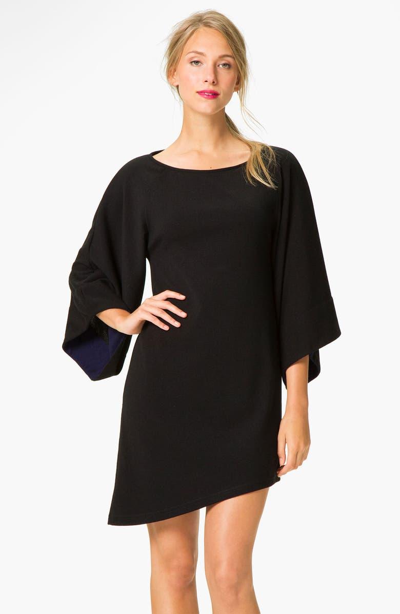 ABI FERRIN 'Faye' Bell Sleeve Asymmetrical Sweater Dress, Main, color, 001