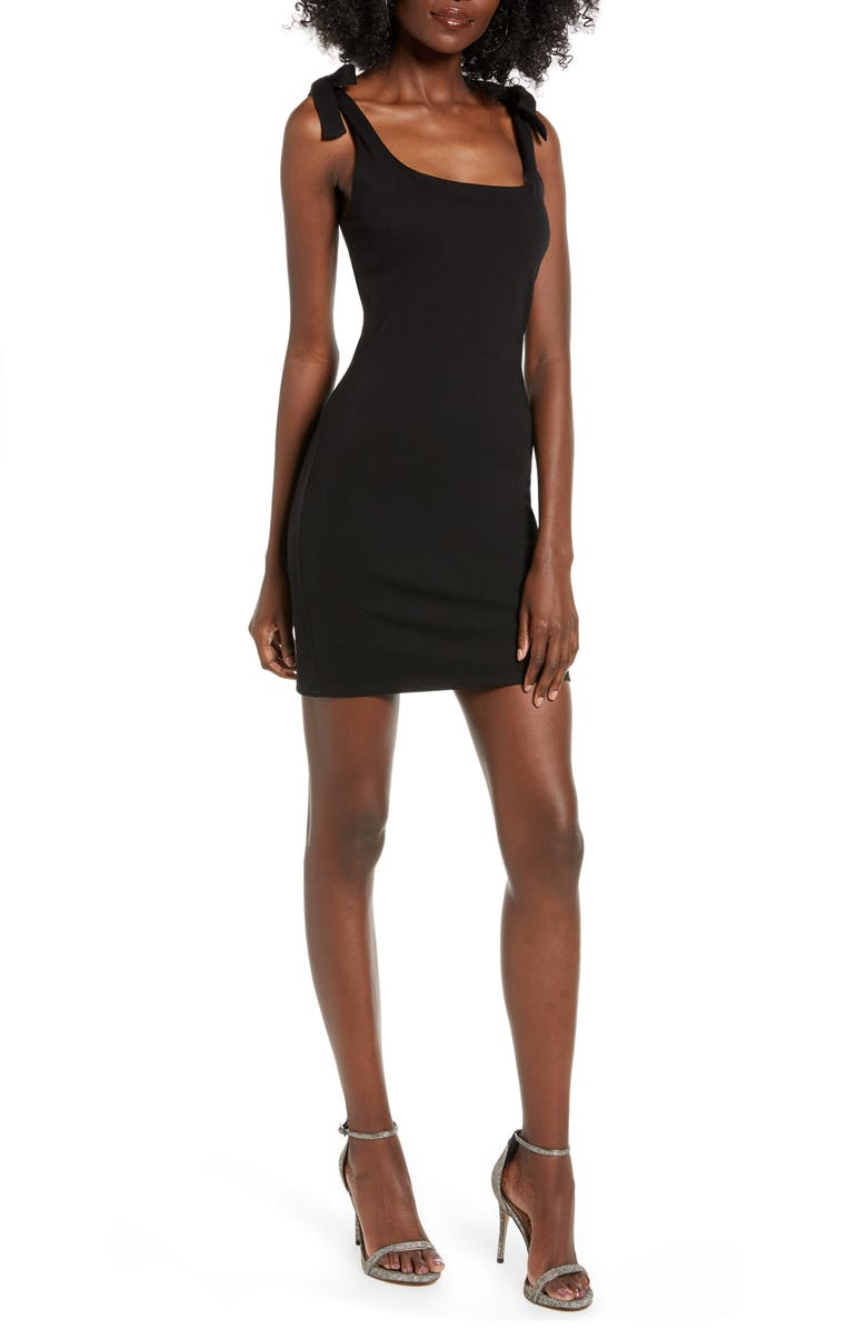 4SI3NNA Rae Tie Shoulder Minidress, Main, color, BLACK