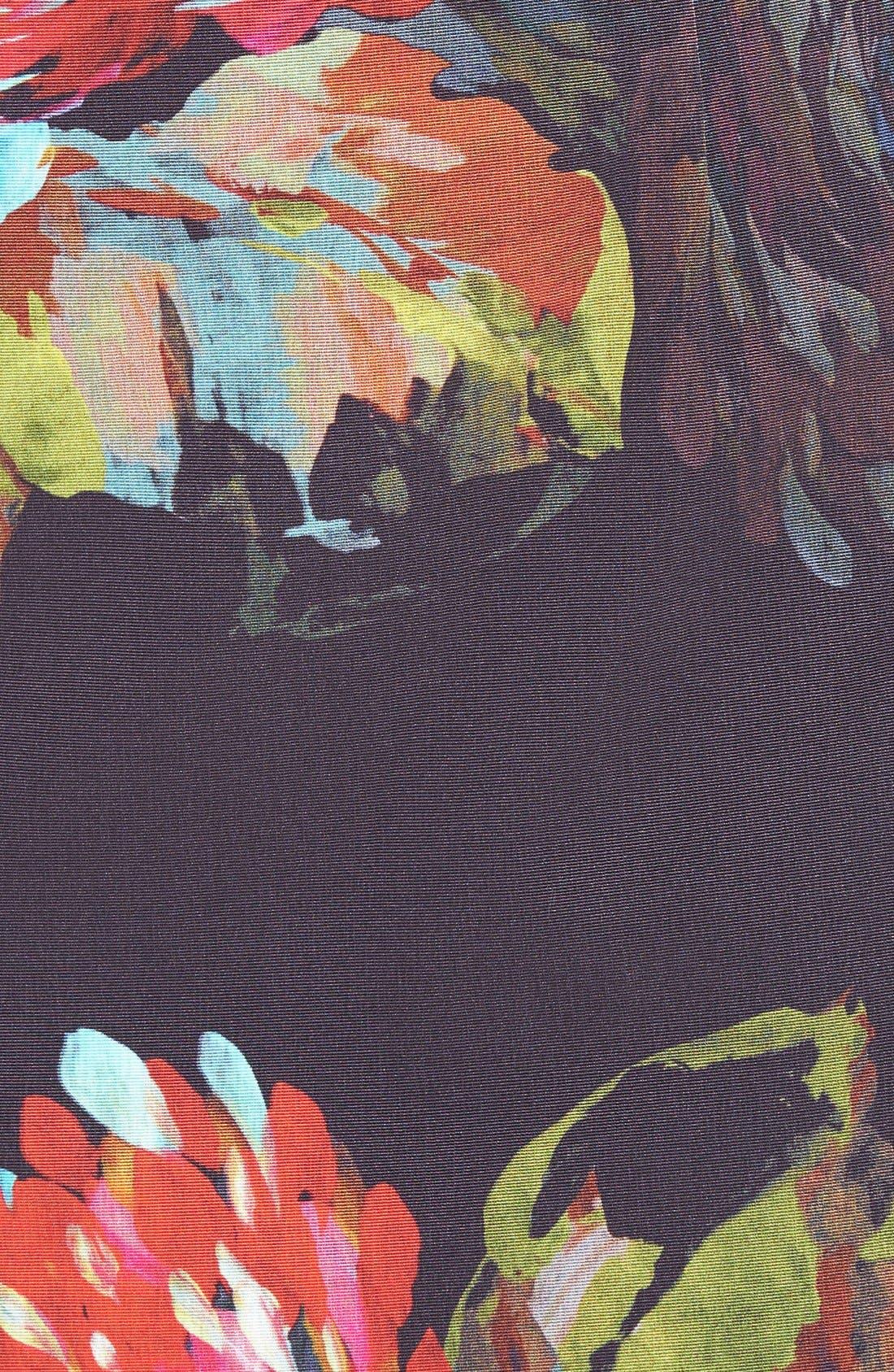 ,                             'Natasha' Flower Print Faille A-Line Dress,                             Alternate thumbnail 4, color,                             001