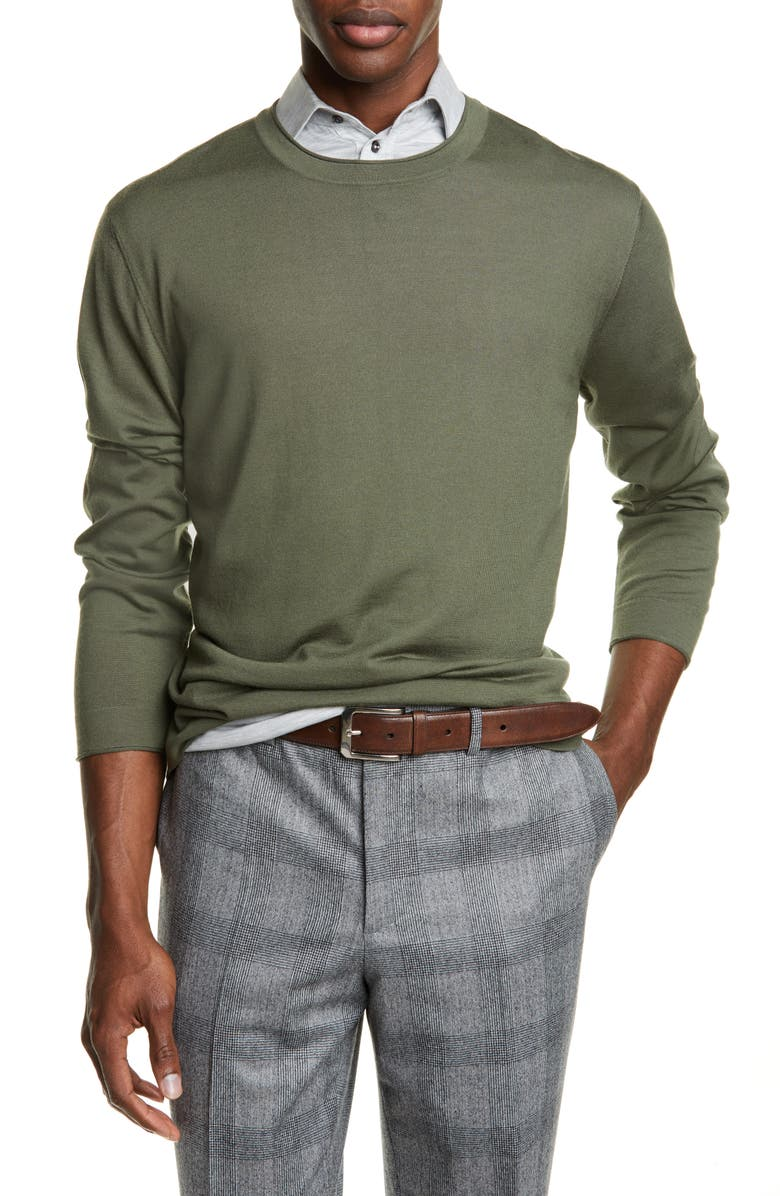 BRUNELLO CUCINELLI Fine Gauge Wool & Cashmere Crewneck Sweater, Main, color, ARMY GREEN