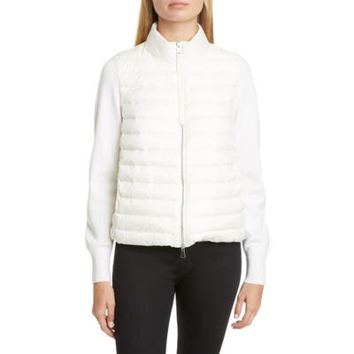 Moncler Quilted Down & Wool Short Jacket, White