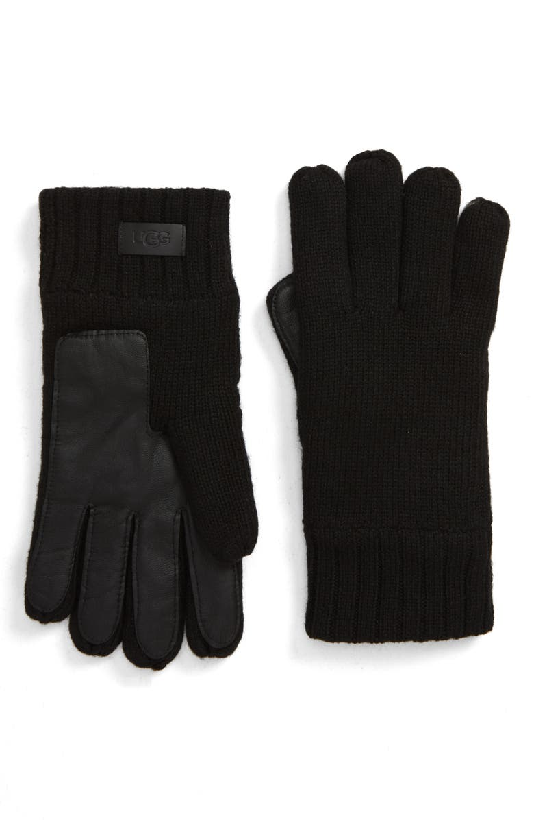UGG<SUP>®</SUP> Knit Tech Gloves, Main, color, BLACK