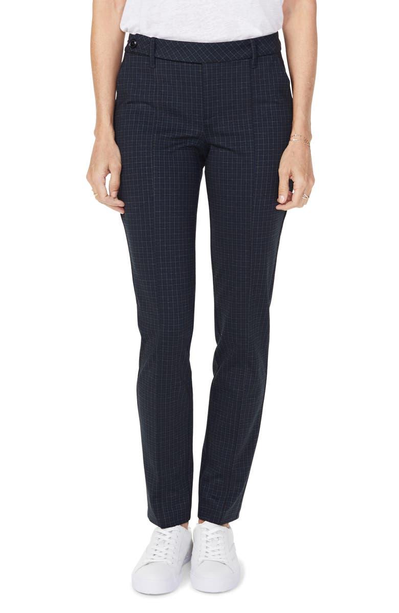 NYDJ Everyday Windowpane Grid Tapered Trousers, Main, color, FINE WINDOWPANE