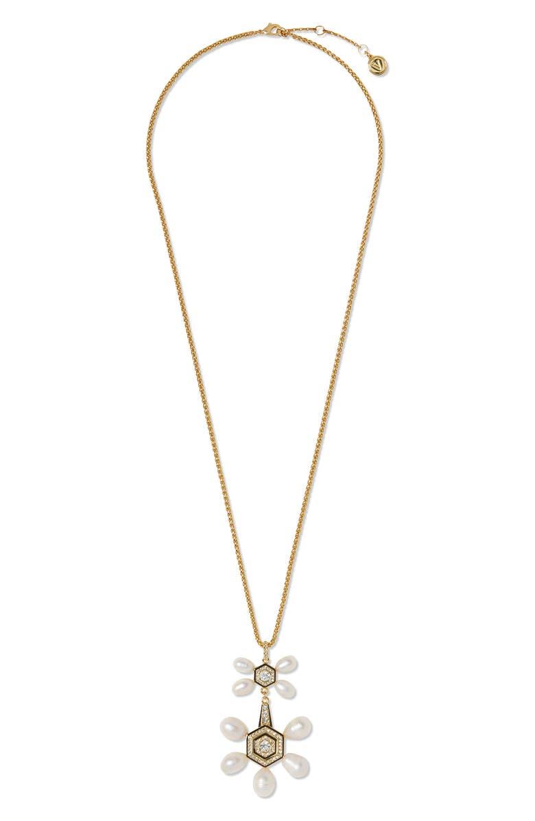 VINCE CAMUTO Long Double Drop Pendant Necklace, Main, color, GOLD