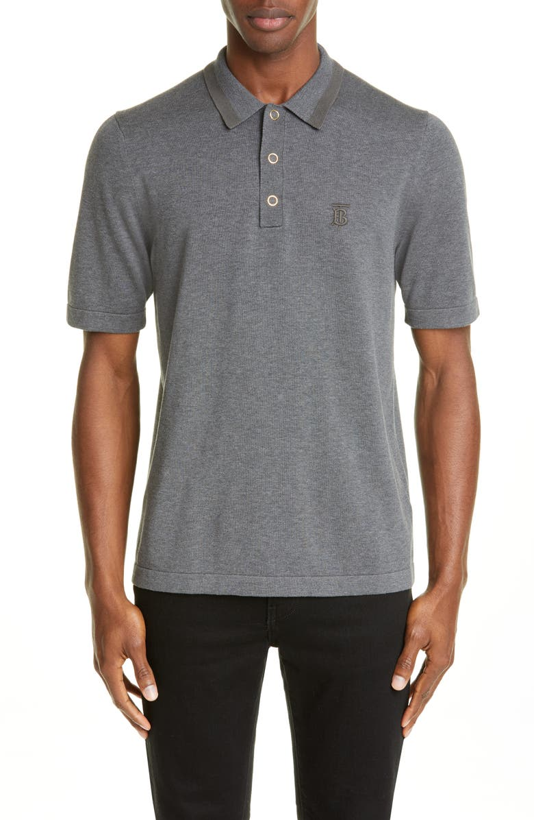 BURBERRY Snap Short Sleeve Jersey Polo, Main, color, MID GREY MELANGE