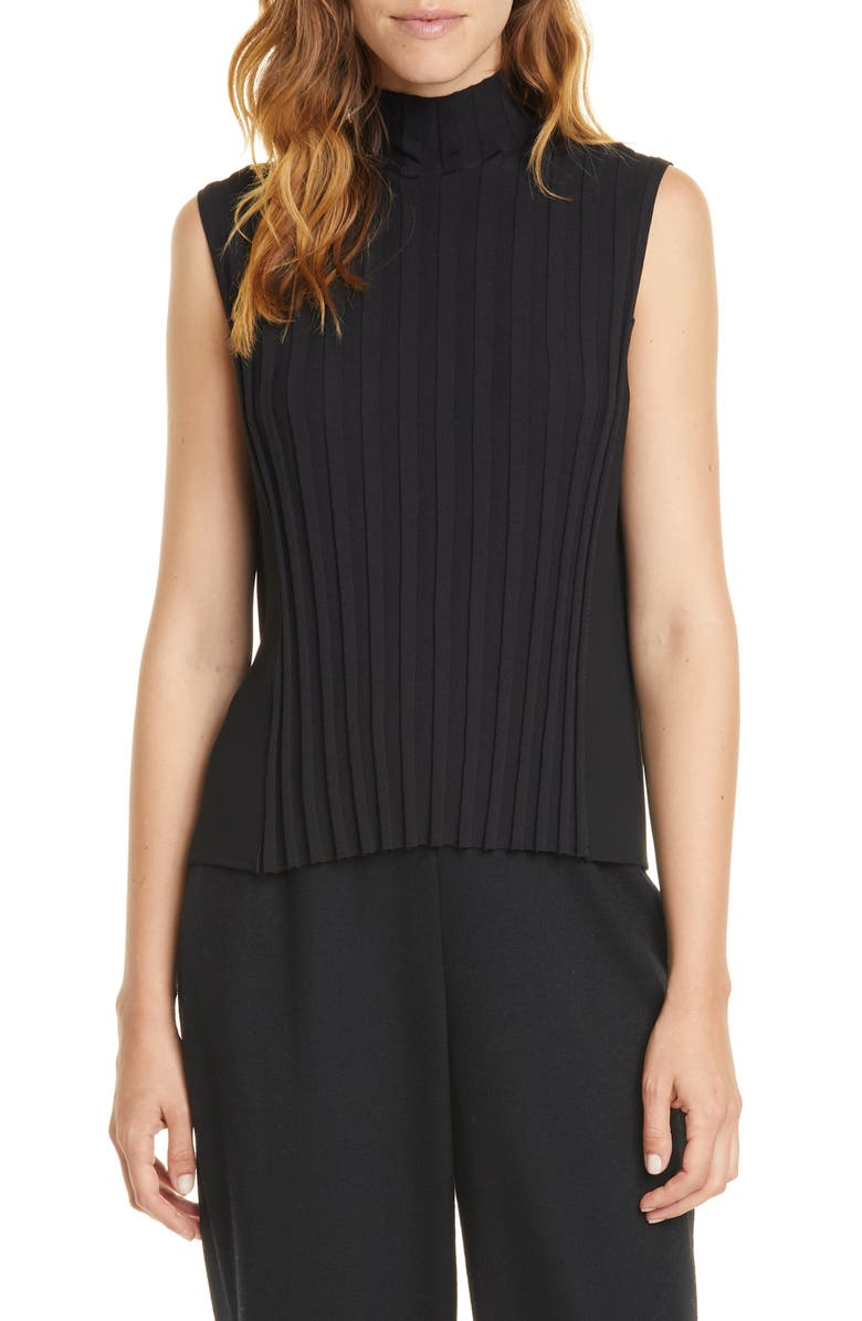 VINCE Rib Front Sleeveless Turtleneck Top, Main, color, 001