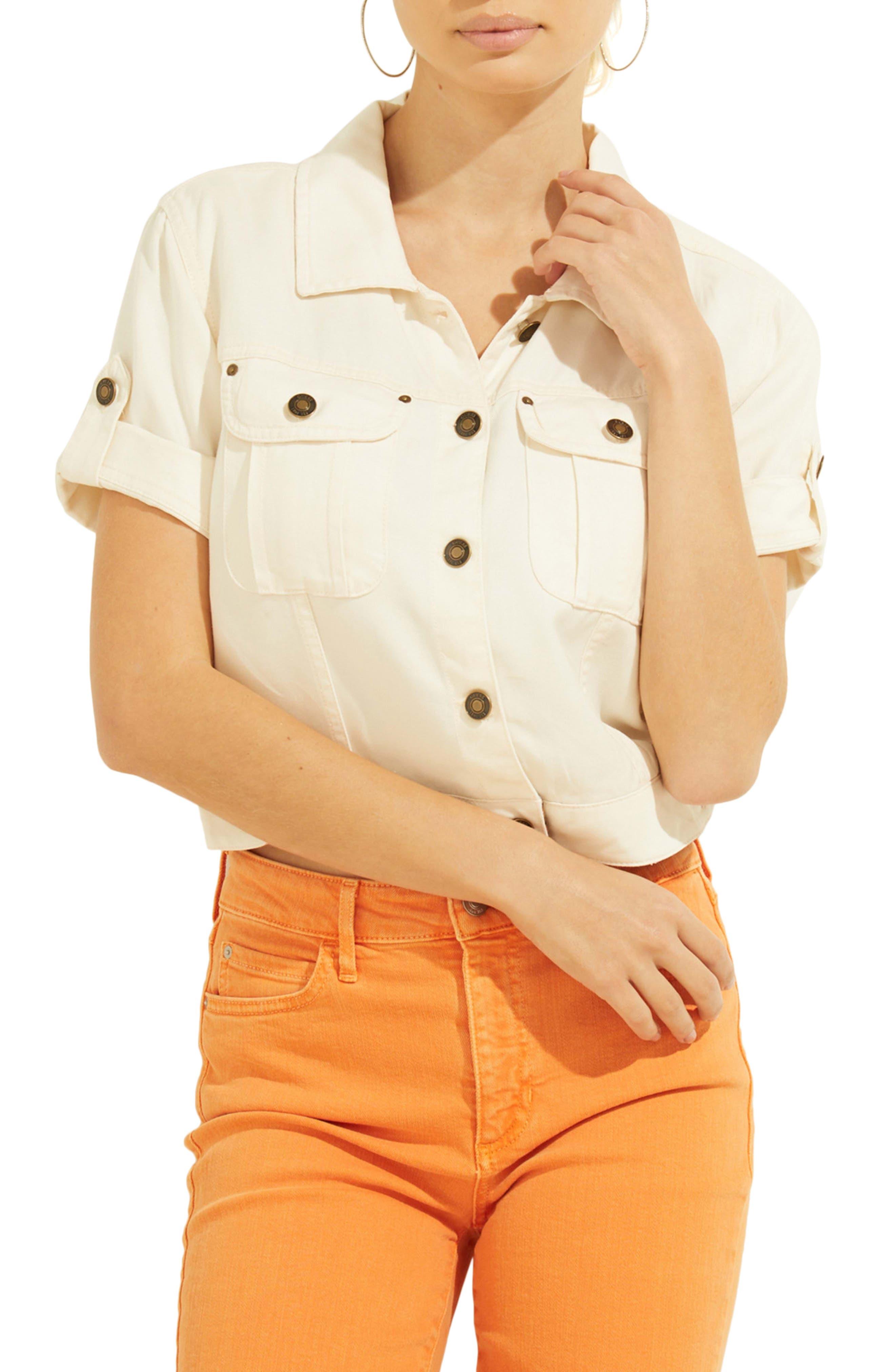 Short Sleeve Denim Shirt Jacket