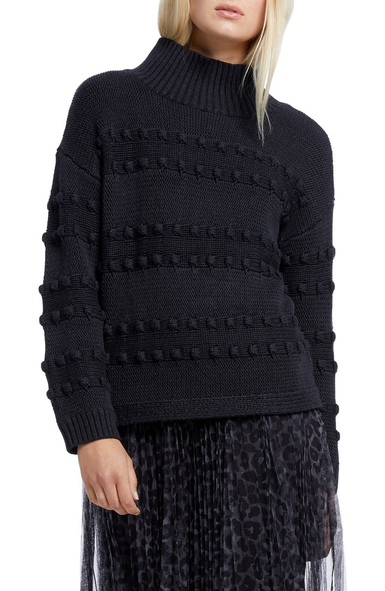 NIC+ZOE Adore A Ball Texture Stripe Turtleneck Sweater, Main, color, BLACK ONYX