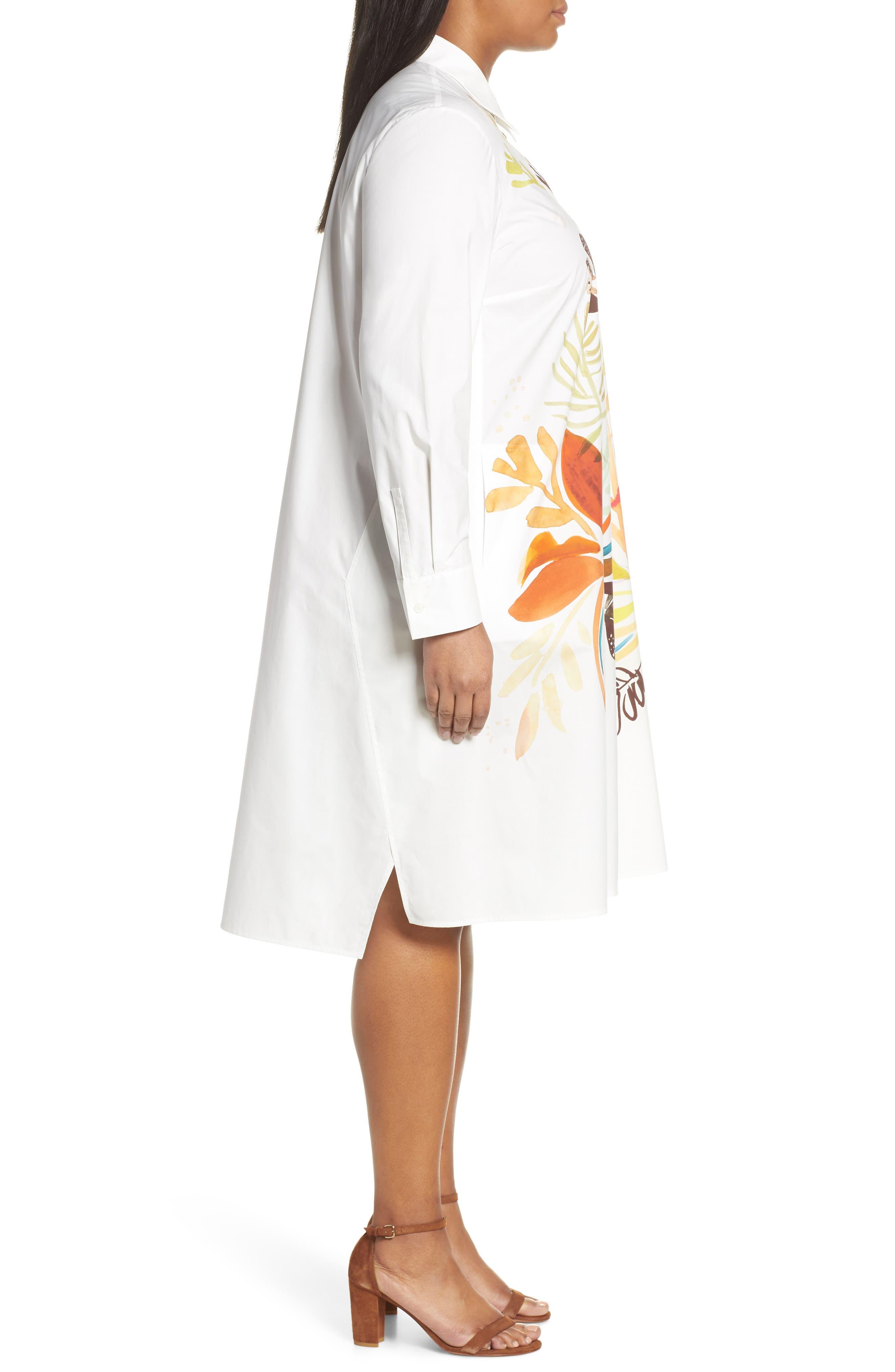 ,                             Porto A-Line Shirtdress,                             Alternate thumbnail 3, color,                             WHITE MULTI