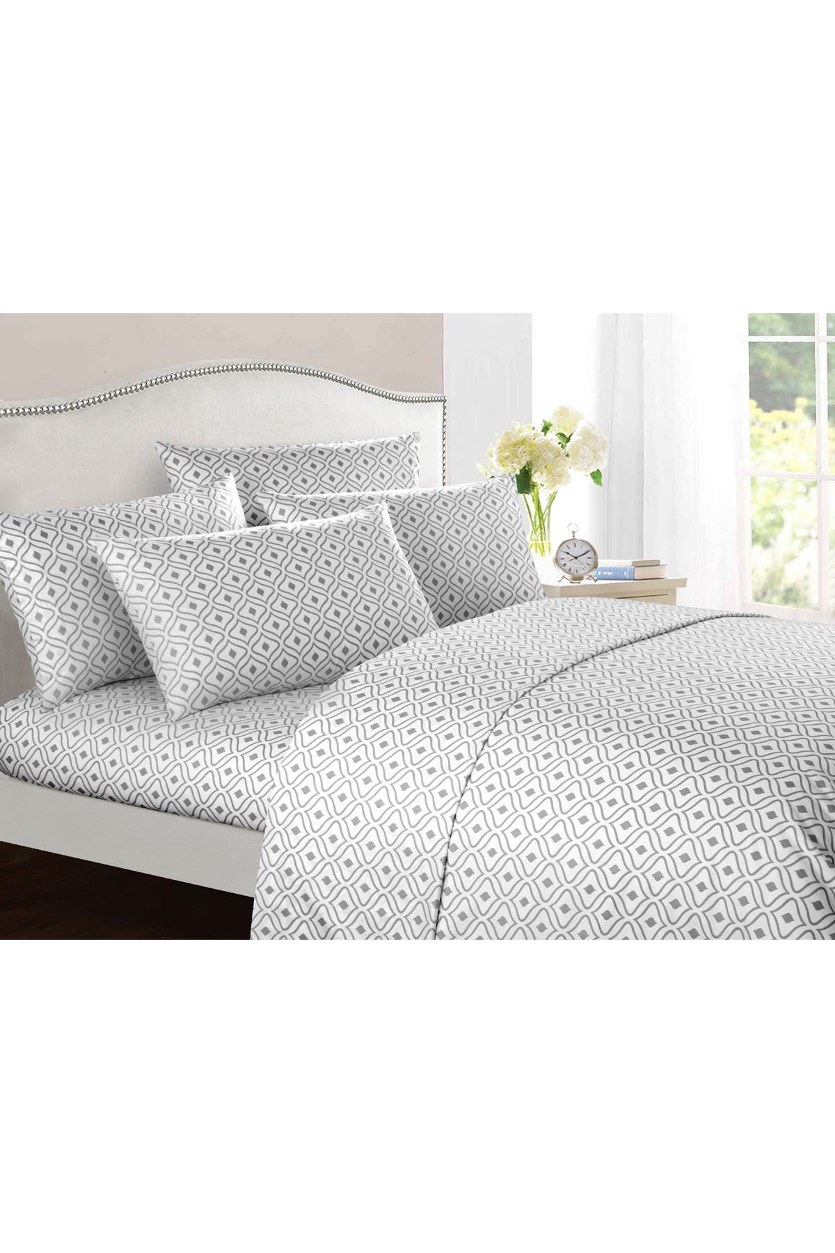 Image of Chic Home Bedding Grey Gazella Contemporary Geometric Diamond Queen 6-Piece Sheet Set