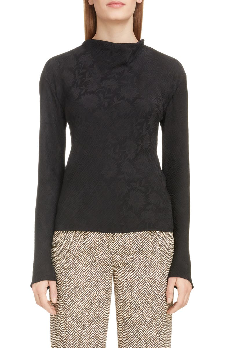 CHLOÉ Thistle Print Silk Blend Crinkle Jacquard Top, Main, color, 001