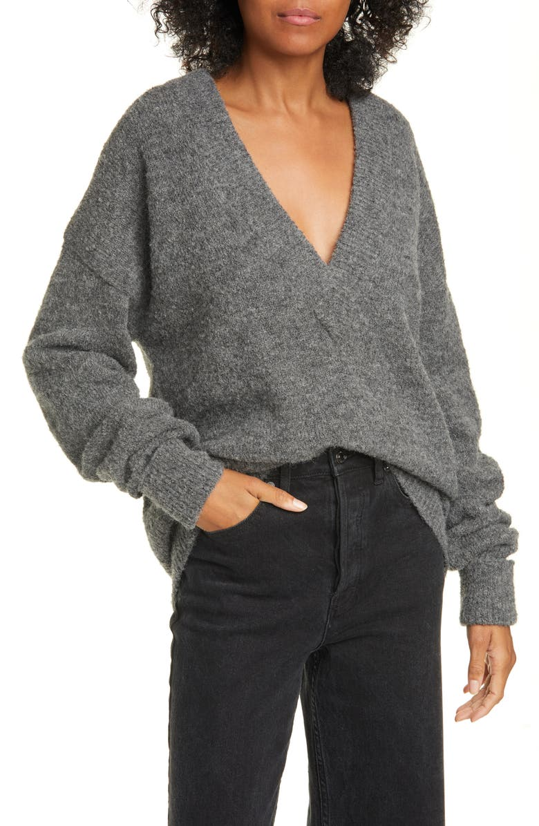 TIBI Airy Alpaca Blend Sweater with Arm Band Cuffs, Main, color, HEATHER GREY