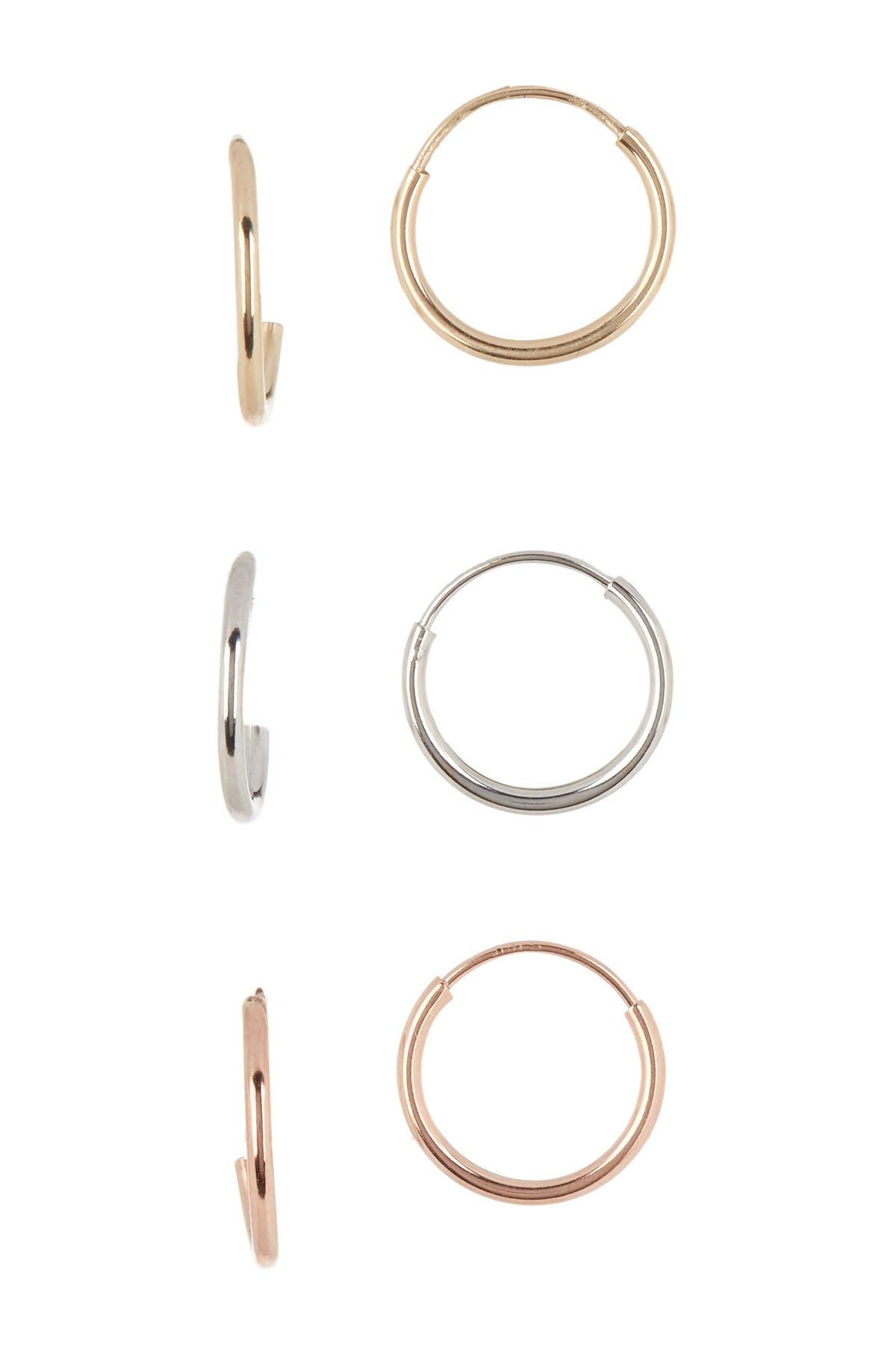 Image of Candela 14K Gold Tri-Color 10mm Endless Hoop Earrings Set