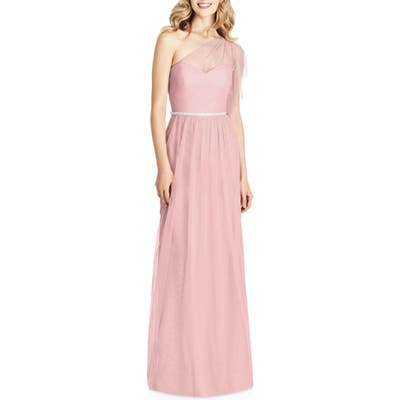 Jenny Packham One-Shoulder Tulle Gown, Pink