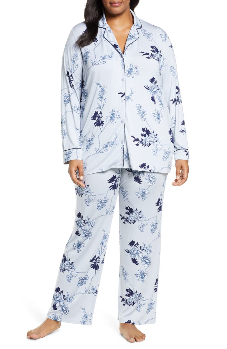 NORDSTROM LINGERIE Moonlight Pajamas, Main, color, BLUE PEARL BOTANICAL TOILE