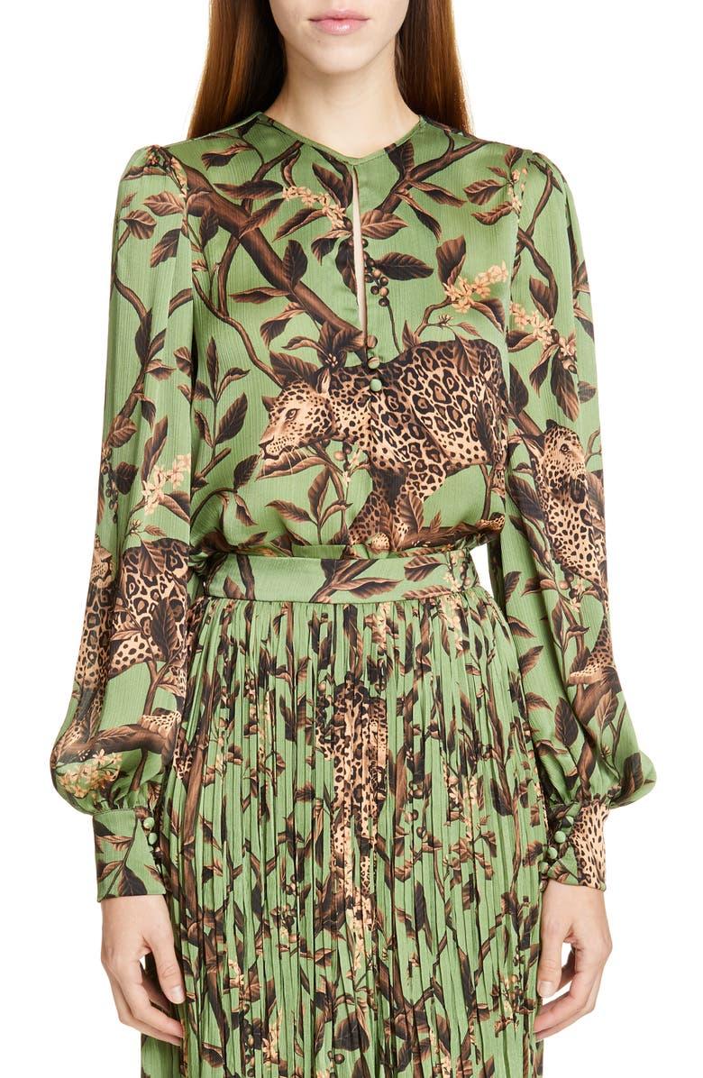 JOHANNA ORTIZ Jaguar Print Georgette Keyhole Blouse, Main, color, PISTACHIO