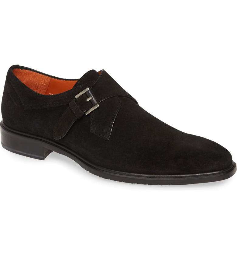 MEZLAN Praga Monk Strap Shoe, Main, color, BLACK SUEDE
