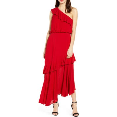 Wayf One-Shoulder Ruffle Dress, Red