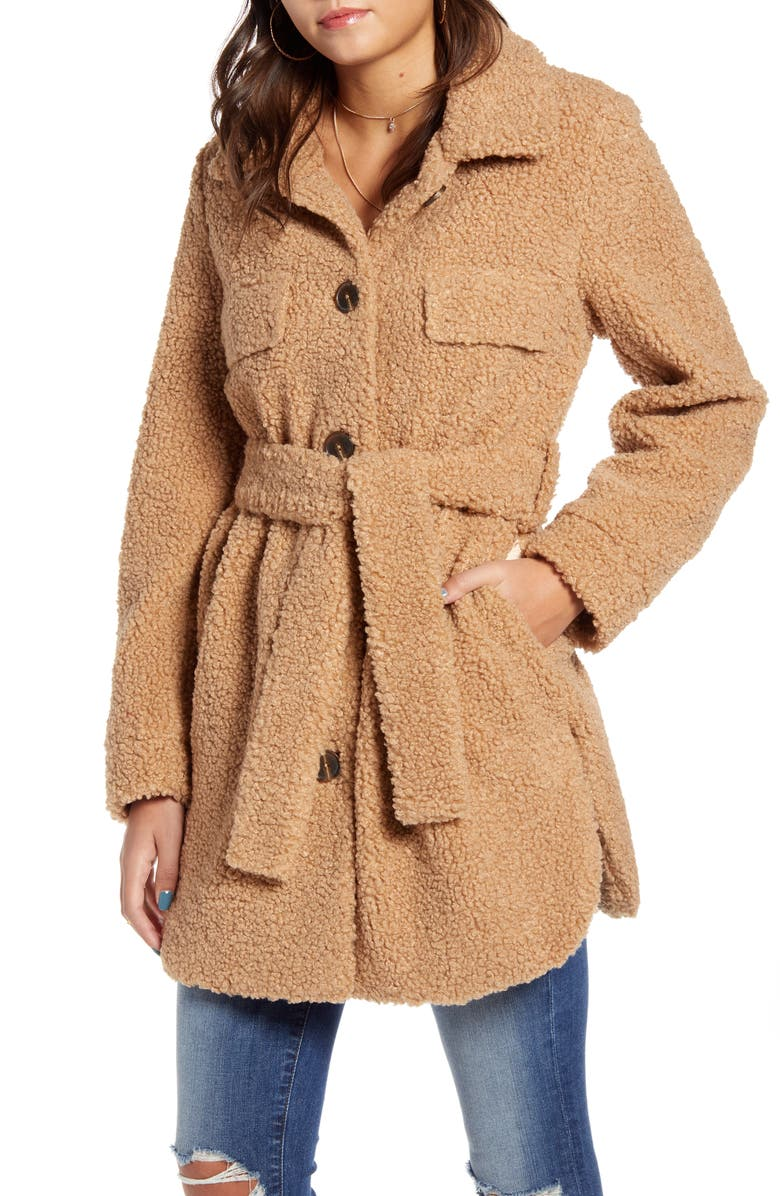 BLANKNYC Toffee Faux Shearling Belted Coat, Main, color, BEIGE