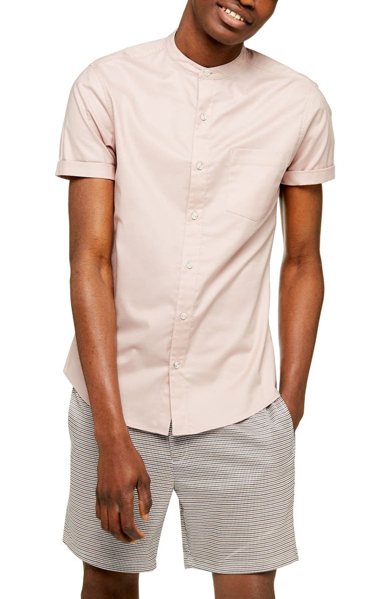 TOPMAN Stand Collar Skinny Short Sleeve Button-Up Shirt, Main, color, PINK