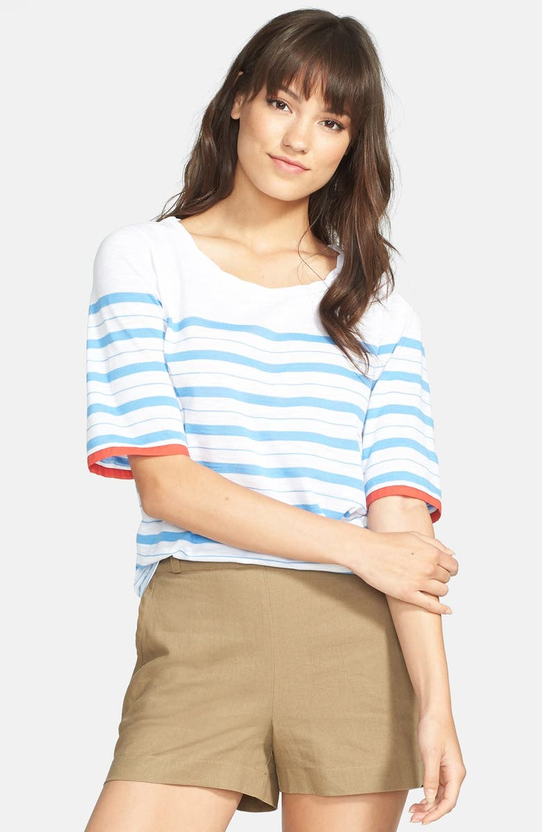 ACE DELIVERY Chambray Cuff Stripe Tee, Main, color, 401