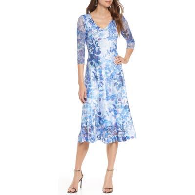 Petite Komarov Charmeuse & Chiffon A-Line Dress, Blue