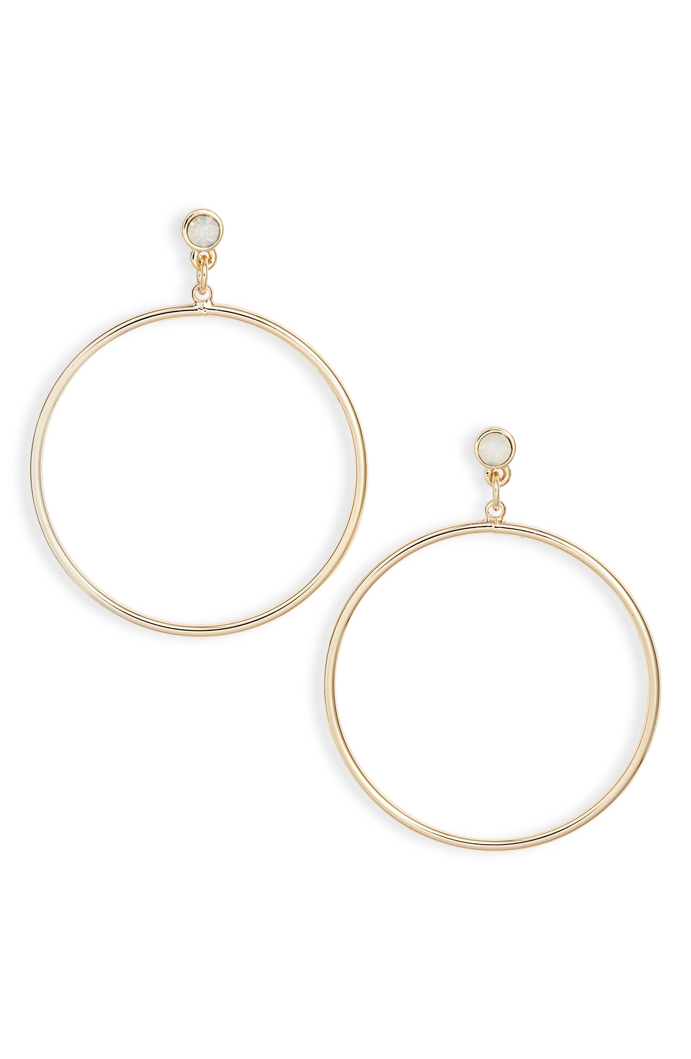 Crystal Hoop Earrings, Main, color, WHITE- GOLD