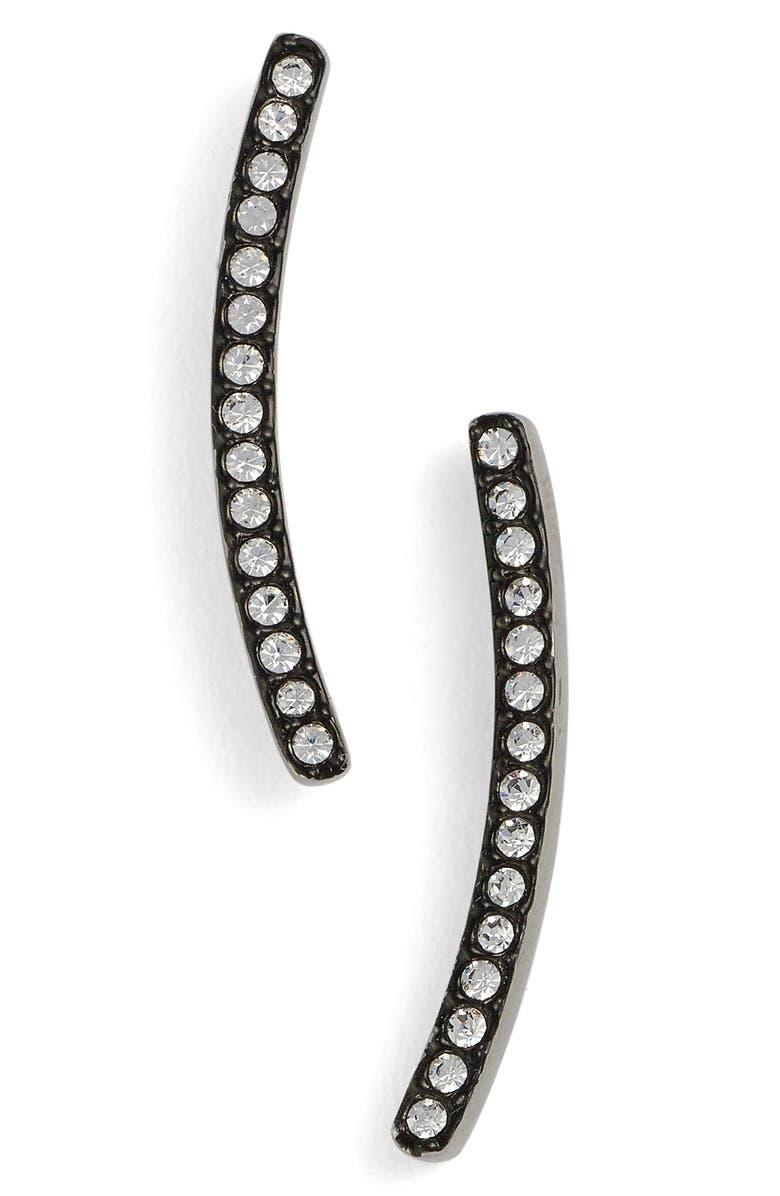 NADRI Pavé Curved Bar Stud Earrings, Main, color, 001